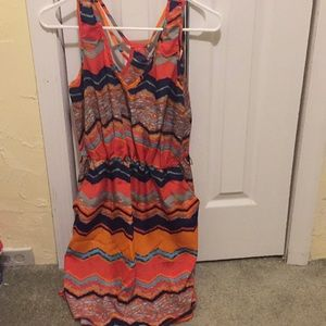 Multicolor chevron skater dress